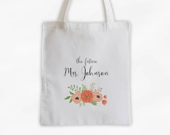 The Future Mrs Antique Flowers Cotton Canvas Personalized Tote Bag - Custom Engagement Gift for Bride to Be - Coral and Peach (3003)