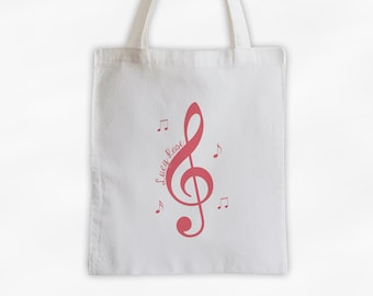 Treble Clef and Music Notes Cotton Canvas Personalized Tote Bag in Antique Pink - Custom White Tote Bag for Music Lovers, Band Members