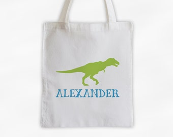 Personalized Dinosaur Canvas Tote Bag - Tyrannosaurus Rex Custom Travel Overnight Bag for Boys or Girls - Reusable Tote in Lime & Turquoise