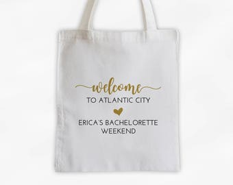 Wedding Welcome Bag - Bachelorette Weekend Cotton Canvas Tote Bag- Personalized Vacation Travel Bag in Black and Gold (3041)