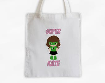 Superhero Girls Canvas Tote Bag - Pink and Green Super Kid Personalized Comic Book Travel Overnight Bag - Reusable Tote (3040)