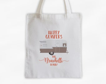 Happy Camper Personalized Canvas Tote Bag in Beige and Coral - Vintage RV Camping Custom Travel Overnight Bag - Reusable Tote