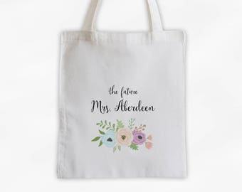 The Future Mrs Antique Flowers Cotton Canvas Personalized Tote Bag - Custom Engagement Gift for Bride to Be - Peach Purple and Aqua (3003)