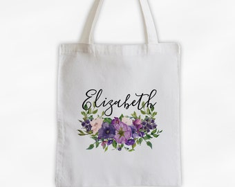 Watercolor Flowers Cotton Canvas Personalized Tote Bag - Custom Gift for Bride to Be, Teacher - Flowers in Shades of Purple