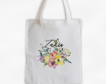 Watercolor Flowers Cotton Canvas Personalized Tote Bag - Custom Gift for Women, Teacher - Pink and Yellow Blossoms