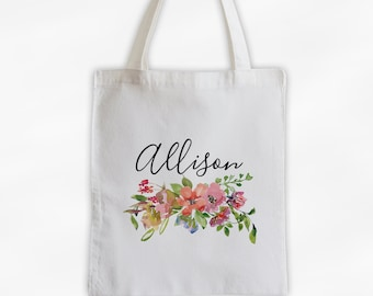 Watercolor Flowers Cotton Canvas Personalized Tote Bag - Custom Gift for Women, Teacher - Pink and Coral Blossoms