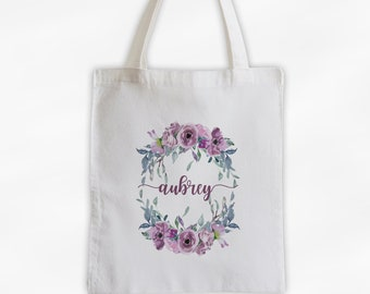 Watercolor Flower Wreath Cotton Canvas Personalized Tote Bag - Custom Gift for Bride to Be, Teacher - Dusty Purple Roses