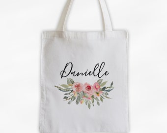 Watercolor Flowers Cotton Canvas Personalized Tote Bag - Custom Gift for Bride to Be, Teacher - Antique Pink Roses