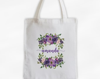 Watercolor Flowers Cotton Canvas Personalized Tote Bag - Calligraphy Wreath Custom Gift for Bride to Be, Teacher - Shades of Purple Flowers