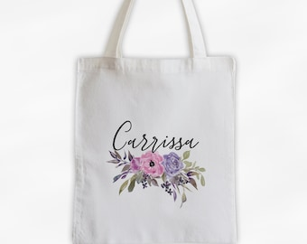 Watercolor Flowers Cotton Canvas Personalized Tote Bag - Custom Gift for Women - Pink and Purple Pastel Flowers