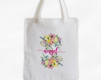 Watercolor Flowers Cotton Canvas Personalized Tote Bag - Calligraphy Wreath Custom Gift for Women, Teacher - Pink and Yellow Blossoms