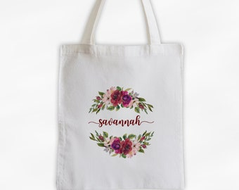 Watercolor Flowers Cotton Canvas Personalized Tote Bag - Calligraphy Wreath Custom Gift for Bride to Be, Teacher - Dark Red and Pink Flowers