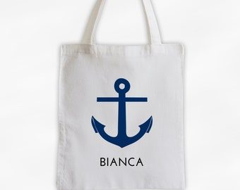 Anchor and Name Cotton Canvas Tote Bag - Personalized Nautical Beach Vacation Travel Bag in Navy Blue