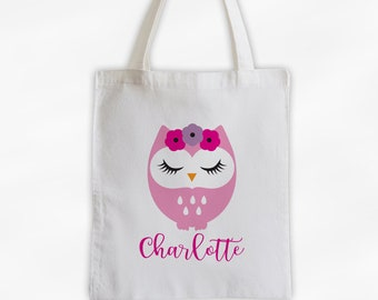 Owl with Flowers Personalized Canvas Tote Bag - Cute Animal Custom Travel Overnight Bag - Reusable Tote with Sleepy Owl