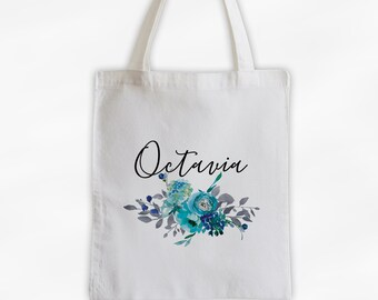 Watercolor Flowers Cotton Canvas Personalized Tote Bag - Custom Gift for Women - Aqua, Blue, and Gray Flowers