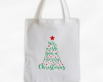 We Wish You A Merry Christmas Canvas Tote Bag - Red and Green Christmas Tree Holiday Reusable Gift Bag Tote