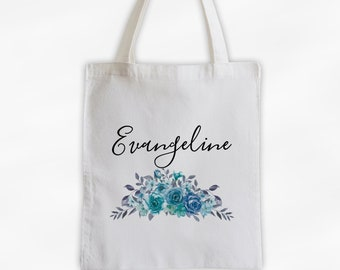 Watercolor Roses Cotton Canvas Personalized Tote Bag - Custom Gift for Women - Aqua, Blue, and Gray Flowers