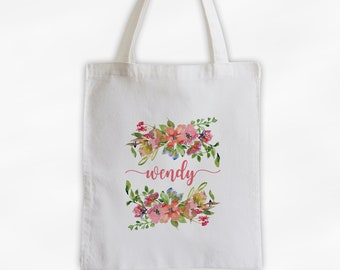 Watercolor Flowers Cotton Canvas Personalized Tote Bag - Calligraphy Wreath Custom Gift for Women, Teacher - Pink and Coral Blossoms