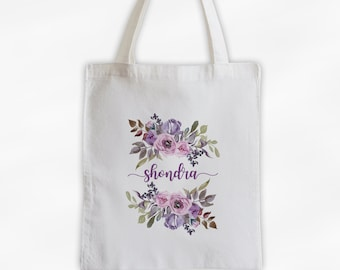 Watercolor Flowers Cotton Canvas Personalized Tote Bag - Calligraphy Wreath Custom Gift for Women - Pink and Purple Pastel Flowers