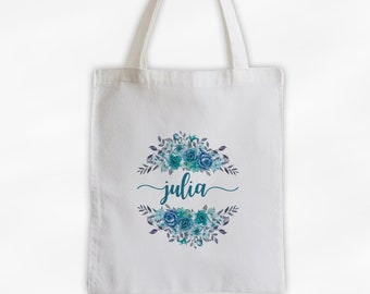 Watercolor Roses Cotton Canvas Personalized Tote Bag - Calligraphy Wreath Custom Gift for Women - Aqua, Blue, and Gray Flowers