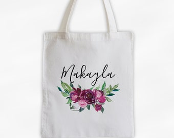 Burgundy Watercolor Flowers Cotton Canvas Personalized Tote Bag - Custom Gift for Bride to Be, Teacher - Merlot Roses