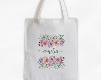 Watercolor Flowers Cotton Canvas Personalized Tote Bag - Calligraphy Wreath Custom Gift for Women - Pink, Purple, Coral Sketch Flowers