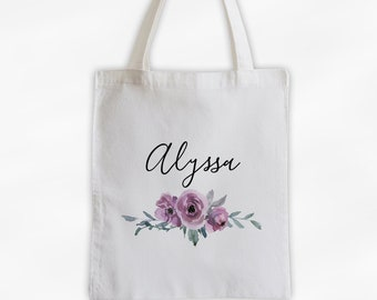 Watercolor Flowers Cotton Canvas Personalized Tote Bag - Custom Gift for Bride to Be, Teacher - Dusty Purple Roses