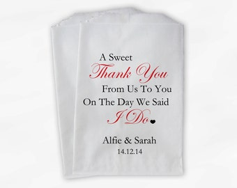 Sweet Thank You Wedding Candy Buffet Treat Bags - Red Personalized Favor Bags with Couple's Names and Wedding Date (0054)
