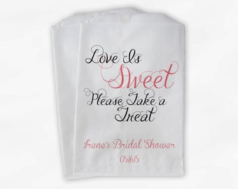 Love Is Sweet Take a Treat Personalized Bridal Shower Candy Buffet Treat Bags - Favor Bags in Antique Pink and Black - 25 Paper Bags (0101)