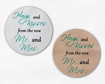 Hugs and Kisses From the New Mr. and Mrs. Wedding Favor Stickers - Light Teal and Black Custom Round Labels (2015)