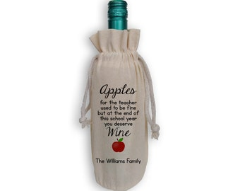 You Deserve Wine Teachers Gift Cotton Wine Gift Bag with Apple - Personalized Reusable Gift Bag