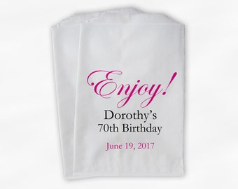 Enjoy Birthday Candy Buffet Treat Bags - Hot Pink, Black Personalized Favor Bags for Milestone Birthday - Set of 25 Custom Paper Bags (0026)