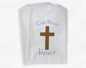 Baby Boy Christening Favor Bags - Baptism or Religious Party Custom Favor Bags - 25 Paper Treat Bags (0031)