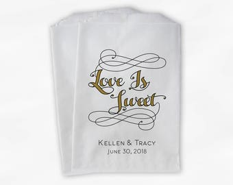 Love is Sweet Favor Bags in Black and Gold - Personalized Calligraphy Favor Bags - Set of 25 Paper Treat Bags (0211)