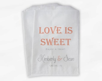 Love Is Sweet Wedding Candy Buffet Treat Bags - Enjoy a Treat Personalized Favor Bags in Light Coral and Gray - Custom Paper Bags (0078)