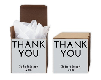 Thank You Favor Boxes in Black and White - Set of 12 Personalized Treat Containers with Stickers for Favors, Gifts - Kraft Boxes