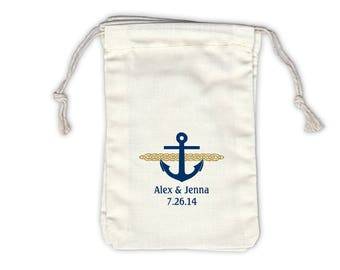Nautical Anchor and Rope Cotton Bags for Wedding Favors in Navy and Gold - Ivory Fabric Drawstring Bags - Set of 12 (1009)