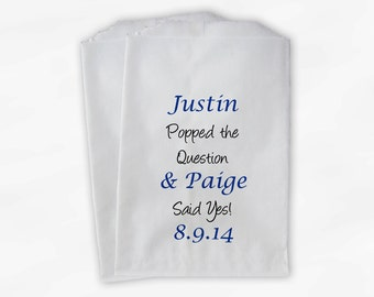 He Popped the Question Popcorn Bags - Royal Blue Custom Candy Buffet Favor Bags for Wedding, Birthday, Shower - 25 Paper Treat Bags (0068)