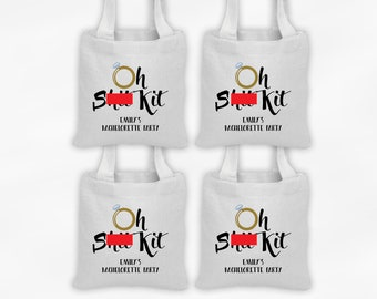 Oh S*** Kit Personalized Mini Tote Bachelorette Party Favor Bags - Set of 4 Custom Gift Bags - Reusable Tote Bags with Gold Engagement Ring
