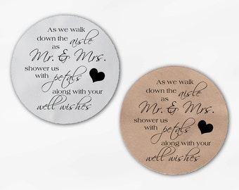 Shower the Mr and Mrs Wedding Favor Stickers - Black and White Custom White Or Kraft Round Labels for Bag Seals, Envelopes (2032)