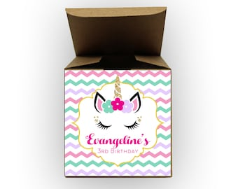 Unicorn Chevron Birthday Party Favor Boxes - Set of 12 Personalized Treat Containers with Stickers for Party Favors - Kraft Tuck Top Boxes