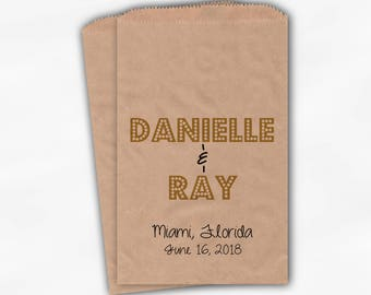Names in Lights Favor Bags - Black and Gold Custom Candy Buffet Favor Bags for Wedding, Shower - Set of 25 Kraft Paper Treat Bags (0212)