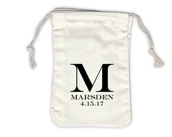 Monogram Last Name Personalized Cotton Bags for Wedding Favors in Black - Ivory Fabric Drawstring Bags - Set of 12 (1016)