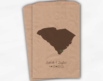 South Carolina Home State Wedding Candy Buffet Treat Bags - Kraft Paper Favor Bags in Coffee, Sage with Names - Custom Paper Bags (0121)