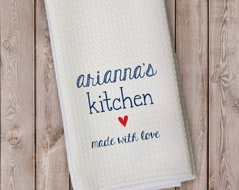 Made With Love Personalized Kitchen Towel - Gift for Grandparent, Housewarming in Navy and Red - Microfiber Towel with Heart