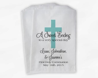 First Communion Favor Bags - Baptism or Religious Party Custom Favor Bags - Set of 25 Robins Egg Blue Paper Treat Bags (0073)