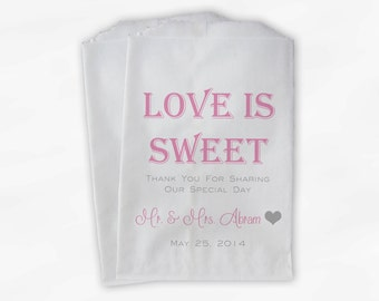 Love Is Sweet Wedding Candy Buffet Treat Bags - Personalized Favor Bags in Pink and Gray - Custom Paper Bags (0069-3)