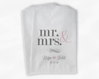 Mr & Mrs Candy Buffet Bags - Personalized Wedding Favor Bags - Blush Pink and Gray Paper Treat Bags (0175)