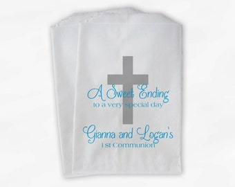 First Communion Favor Bags - Baptism or Religious Party Custom Favor Bags - Set of 25 Turquoise Paper Treat Bags (0073)