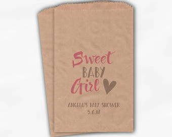 Sweet Baby Girl Baby Shower Candy Buffet Treat Bags - Set of 25 Pink and Gray Personalized Kraft Paper Favor Bags (0199)